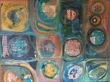 Abstract Circles and Squares by Jane Watson, Painting, Mixed Media on Canvas