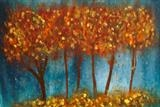 Autumn Trees by Jane Watson, Painting, Acrylic on board