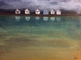 Beach Hut Reflections by Jane Watson, Painting, Acrylic on board