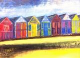 Beach Huts at Mersea by Jane Watson, Painting, Mixed Media on Canvas