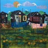 Beach Huts at Walberswick by Jane Watson, Painting, Collage