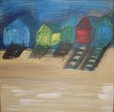 Beach Huts at Wells by Jane Watson, Painting, Acrylic on canvas