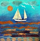 Boat Collage (sold but prints available) by Jane Watson, Painting, Collage