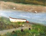 Boat on the River Bank by Jane Watson, Painting, Acrylic on canvas