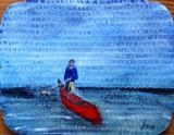 Canoe Man Jon by Jane Watson, Painting, Acrylic on board