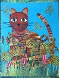 Cat in Grass by Jane Watson, Painting, Collage