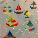 Colourful Boats by Jane Watson, Painting, Acrylic on board