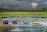 Colourful Dinghys by Jane Watson, Painting, Acrylic on board