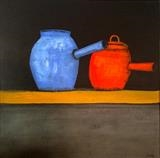 Colourful Pots by Jane Watson, Painting, Acrylic on canvas