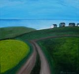 Cottages on the Cliffs by Jane Watson, Painting, Acrylic on canvas