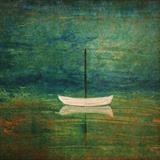 Dinghy with green background by Jane Watson, Painting, Acrylic on board