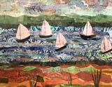 Fishing Boat Collage by Jane Watson, Painting, Collage