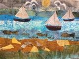 Fishing Boats by Jane Watson, Painting, Collage