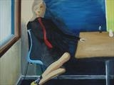 Girl in a Cafe by Jane Watson, Painting, Acrylic on canvas