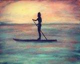 Girl on a Paddle Board by Jane Watson, Painting, Acrylic on canvas