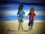 Kids on Beach by Jane Watson, Painting, Acrylic on board
