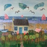 Little House by the Sea by Jane Watson, Painting, Collage