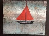 Little Red Sails by Jane Watson, Painting, Acrylic on paper