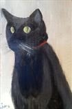 Maggie the Cat by Jane Watson, Painting, Oil on Board