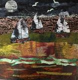 Moonlit River by Jane Watson, Painting, Collage