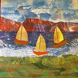 Red Cliffs by Jane Watson, Painting, Collage