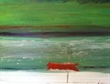 Red Dinghy Reflection by Jane Watson, Painting, Oil on Board