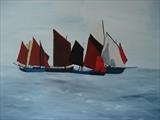 Red Sails by Jane's Art, Painting, Acrylic on canvas