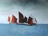 Red Sails 2 by Jane Watson, Painting, Acrylic on canvas