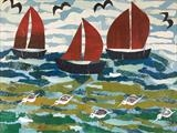 Red Sails Collage by Jane Watson, Painting, Collage