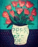 Red Tulips in Vase by Jane Watson, Painting, Acrylic on board