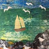 Sailing Boat at St.Ives by Jane Watson, Painting, Collage