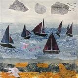 Sailing Boats at Mersea (prints available) by Jane Watson, Painting, Collage