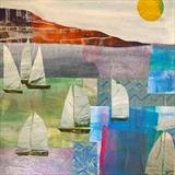Sailing in the Bay by Jane Watson, Painting, Mixed Media
