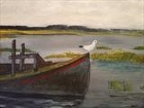 Seagull on Wreck by Jane Watson, Painting, Acrylic on board