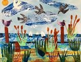 Seaside Collage - prints available by Jane Watson, Painting, Collage