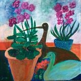 Still Life Birds by Jane Watson, Painting, Acrylic on canvas