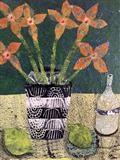 Still Life Collage, green by Jane Watson, Painting, Collage
