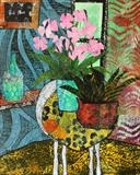 Still Life Collage with Orchid by Jane Watson, Painting, Collage