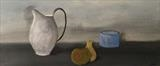 Still Life Jug and fruit by Jane Watson, Painting, Acrylic on canvas