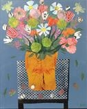 Still Life Vase of Flowers by Jane Watson, Painting, Collage