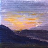 Sunset in Slovenia by Jane Watson, Painting, Acrylic on board