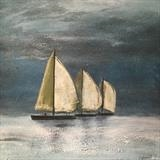 Three Ships a Sailing by Jane Watson, Painting, Acrylic on canvas