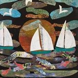 Three White Sails by Jane Watson, Painting, Collage