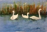 Two Swans and a Goose by Jane Watson, Painting, Acrylic on board