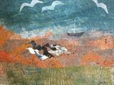 Wading Birds by Jane Watson, Painting, Collage