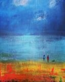 Walking on the Beach by Jane Watson, Painting, Acrylic on canvas