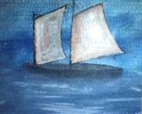 White Sails by Jane Watson, Painting, Acrylic on board