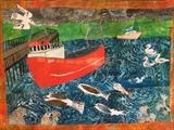 Wivenhoe Fishing Boat by Jane Watson, Painting, Collage