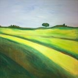 Yellow Fields by Jane Watson, Painting, Oil on canvas