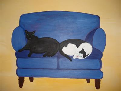 Cats on Sofa by Jane Watson, Painting, Acrylic on canvas